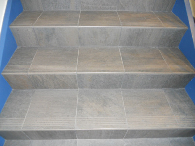 Stair Tread Tile Installed